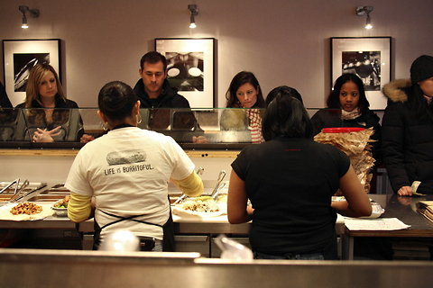Customers line up at a Chipotle in New York City.