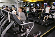 Exercising at a New York Sports Club.