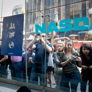 Facebook's first day in public trading, May 18, touched off excitement at the Nasdaq in New York.