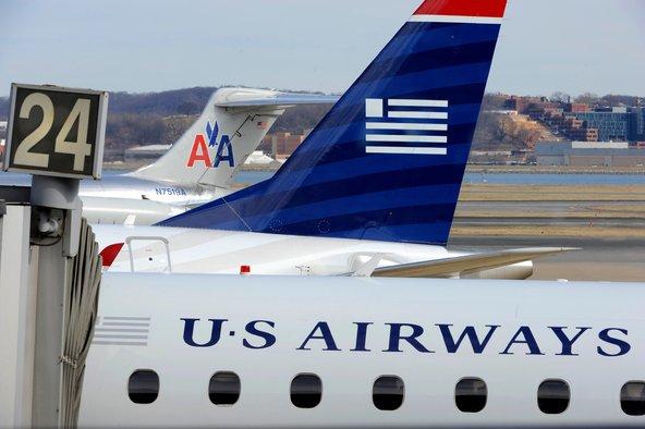 US Airways Express and American Airlines planes at the Ronald Reagan Washington National Airport in Arlington County, Va.