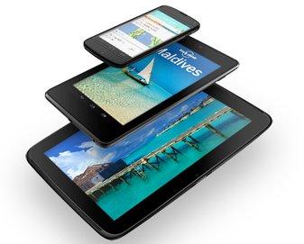 From top: the Nexus 4, Nexus 7 and Nexus 10.