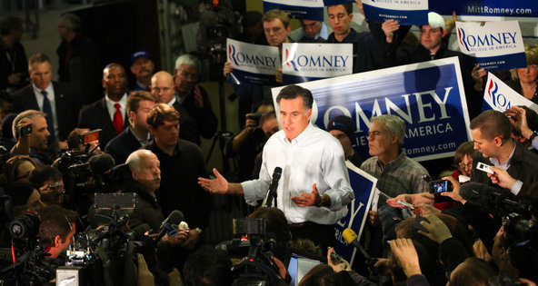 Mitt Romney campaigning in Hudson, N.H., on Jan. 9. He has criticized high levels of federal debt, but private equity firms able to borrow at current low rates would almost certainly be taking advantage.