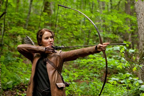 The actress Jennifer Lawrence in a scene from the movie adaptation of The Hunger Games.