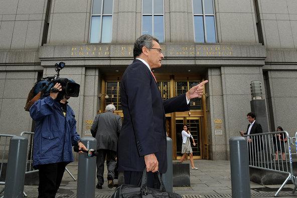 Rajat Gupta, former Goldman Sachs director, exits federal court in New York on Wednesday.