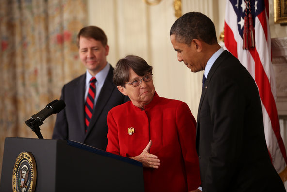 President Obama with Mary Jo White and Richard Cordray.