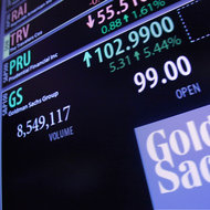 Goldman Sachs stock was up more than 5 percent on Wednesday at the New York Stock Exchange.