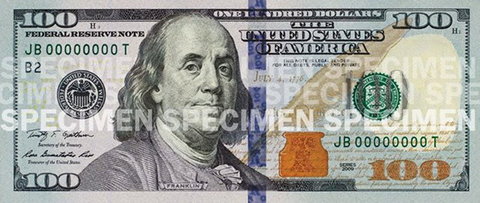 The new design for the $100 bill, as provided by the Treasury Department.