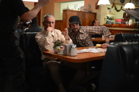 """Scott Glenn, left, on the set of """"Trigger,"""" with the movie's director Basel Owies, a 2010 graduate of Chapman University."""