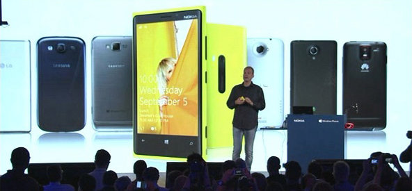 In a screenshot from Nokia's webcast of its event, Kevin Shields, a senior vice president at Nokia, discusses the Lumia 920.