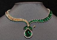 An emerald and diamond necklace designed by Harry Winston in 1956 was recently auctioned by Christie's.