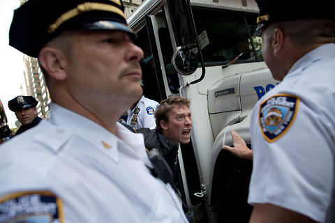 A protester was arrested on Monday in Lower Manhattan on the first anniversary of the Occupy Wall Street movement.