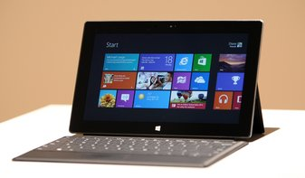 The Surface tablet, as displayed by Microsoft in June.