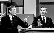 Mayor John V. Lindsay of New York with Johnny Carson on The Tonight Show in 1966.