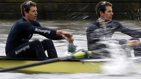 Oxford University Blue rowing team's Tyler (L) and Cameron Winklevoss, brothers known as the founders of Facebook competitor ConnectU © Chris Helgren