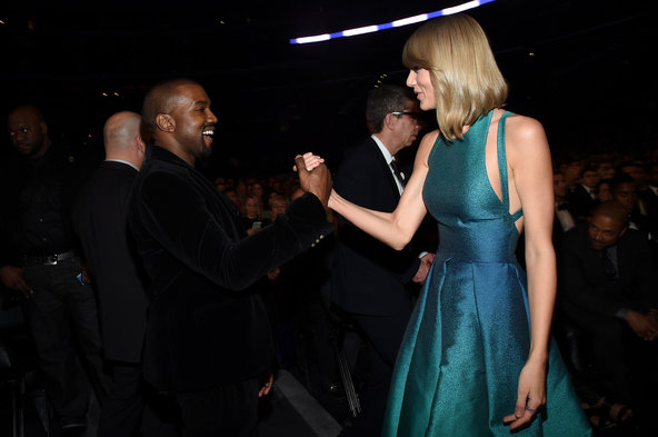 Pop truce: Kanye West and Taylor Swift at the Grammy Awards.