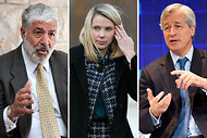 From left: Robert H. Benmosche of A.I.G., Marissa Mayer of Yahoo and Jamie Dimon of JPMorgan Chase.