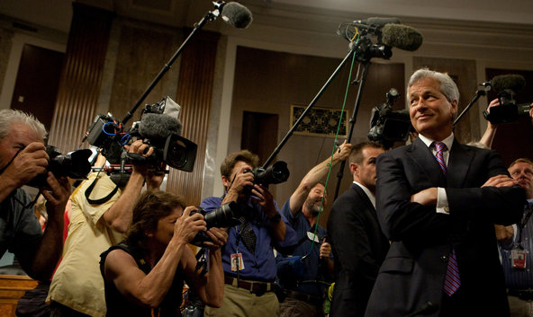 Jamie Dimon, the chief executive of JPMorgan Chase, arrived to testify before a Senate committee.