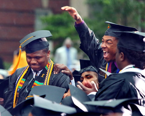 Students at Morehouse College's commencement ceremonies.