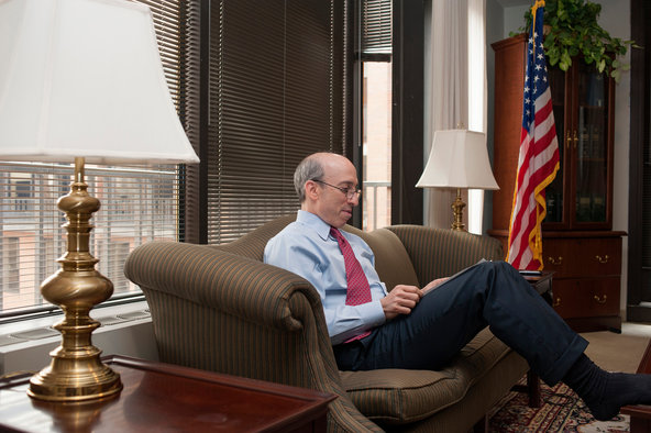Gary Gensler, the chairman of the Commodity Futures Trading Commission, in his office in Washington.