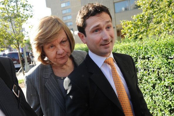 Pamela Chepiga, left, a former federal prosecutor, with her client Fabrice Tourre.