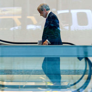 Jamie Dimon, chief of JPMorgan Chase, entered his bank's Manhattan headquarters on Friday.