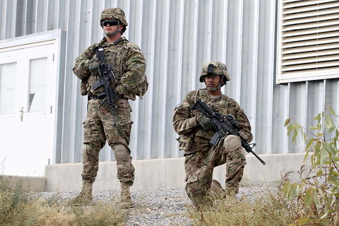 U.S. soldiers stand guard in Zabul province in Afghanistan.