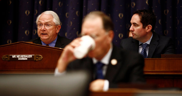 Representative Randy Neugebauer, left, leads the oversight panel of the House Financial Services Committee.