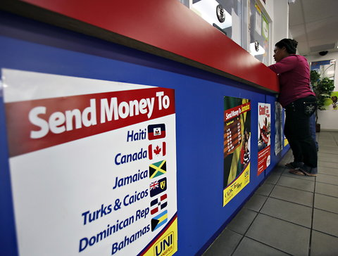 A money transfer counter in Miami.