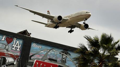 An Etihad Airlines plane at Los Angeles International Airport , California ©Mark Ralston