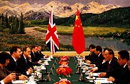 George Osborne, second from left, Britain's chancellor of the Exchequer, met with officials in Beijing this week.