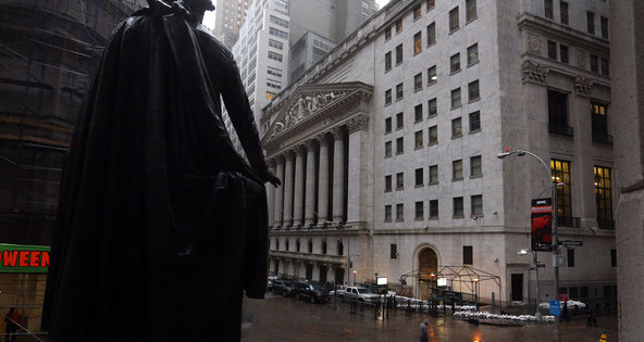 The New York Stock Exchange was closed on Monday ahead of the arrival of Hurricane Sandy.