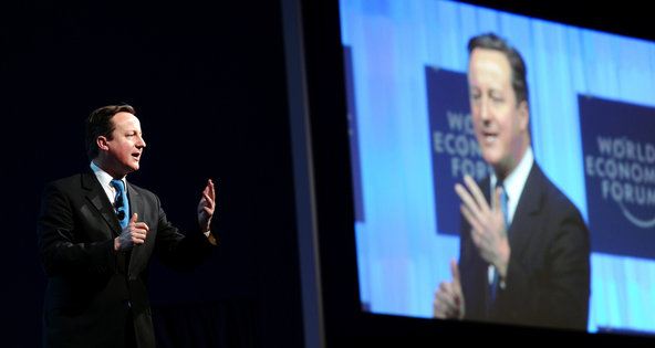 Taking center stage at Davos, Prime Minister David Cameron of Britain appeared to be a thinly-veiled swipe at the Continent.