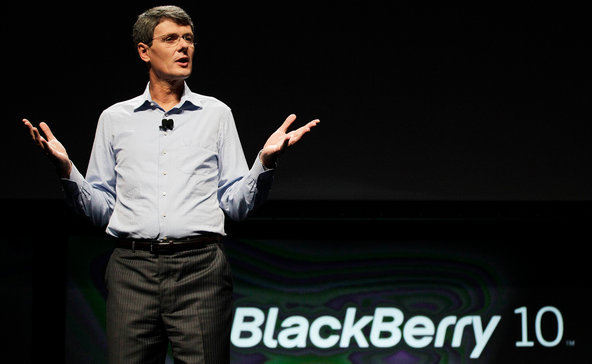 Thorsten Heins, the president and chief executive of RIM, did not offer a specific date for the coming line of BlackBerry 10 phones.
