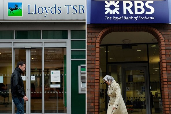 The Lloyds Banking Group and Royal Bank of Scotland plan to retain earnings and sell assets to increase their capital reserves.