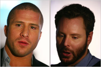 Shawn Fanning, left, and Sean Parker at Tuesday's event.
