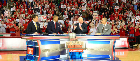 "ESPN's ""College GameDay"" in Raleigh, N.C. Increasing costs at ESPN hurt Disney's earnings."