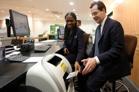 The chancellor of the Exchequer, George Osborne, at a Lloyds branch in London on Wednesday.