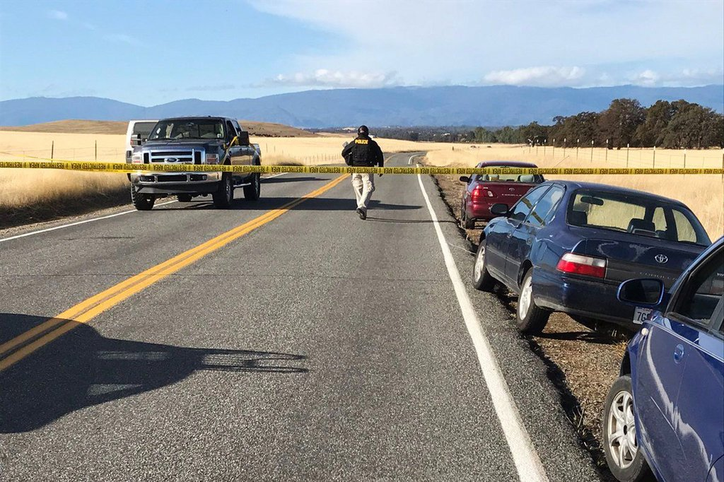 Law enforcement blocked off a road in Rancho Tehama, Calif., on Tuesday after a fatal shooting.