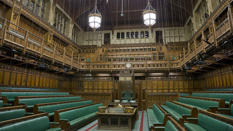 General view of the interior of The Commons Chamber at the Houses of Parliament in central London © Justin Tallis