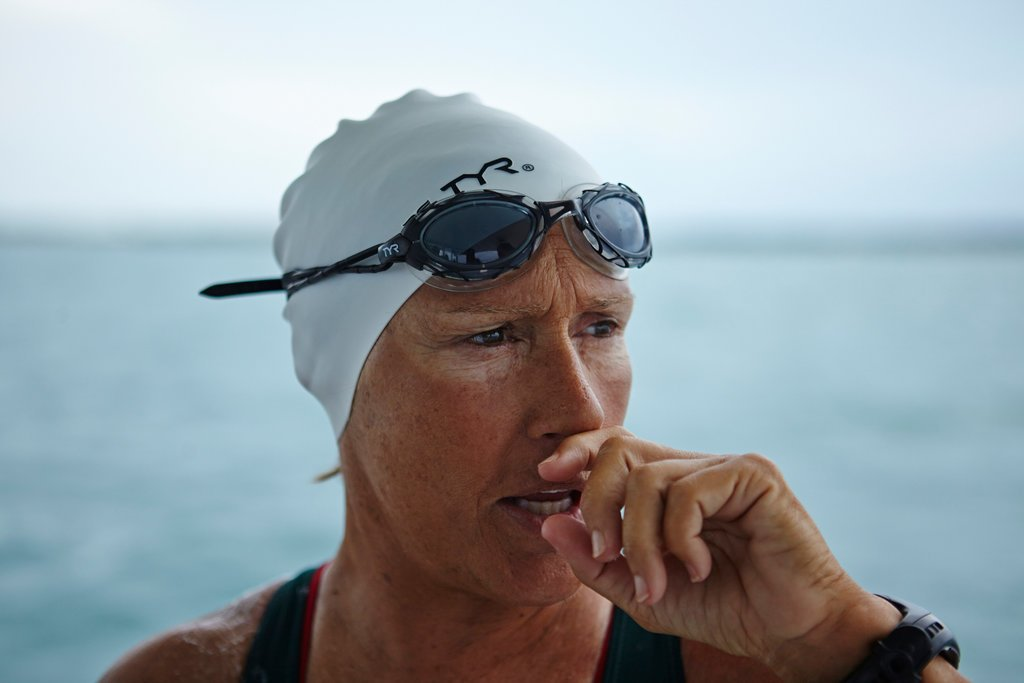 Diana Nyad at 61, during training for a swim from Key West, Fla., to Cuba.