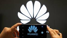FILE PHOTO: A Huawei logo on a cell phone screen © Reuters / Rodrigo Garrido