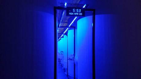 Three meter high chambers where deceased patients are frozen to liquid nitrogen temperatures. ©Cryonics Institute